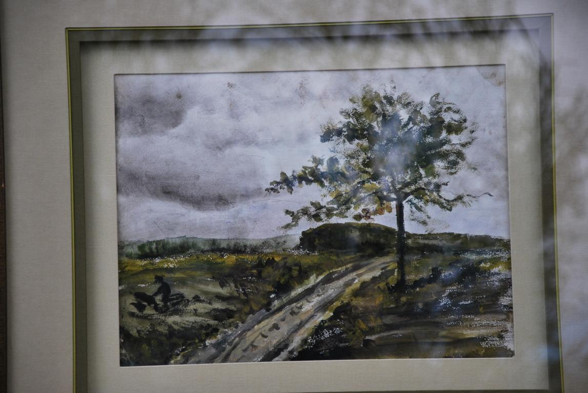 31x23 : huile sur isorel : arbre sur un  chemin venté : Coll. Part.