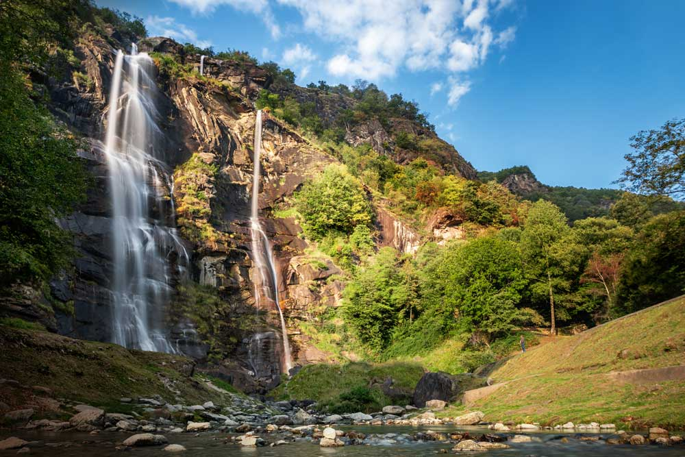 Acquafraggia Wasserfall in Piuro im Valchiavenna Tal, ca. 30km nördlich vom Comer See