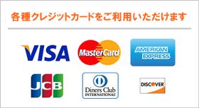 お支払いには各種クレジットカードがご利用いただけます