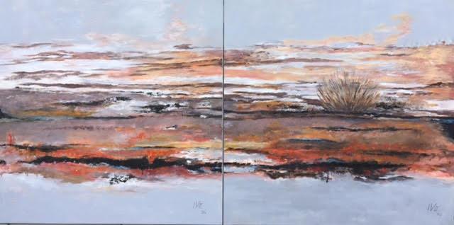 Wüste 2x  80x80cm (80x160cm)  Acryl auf Maltuch