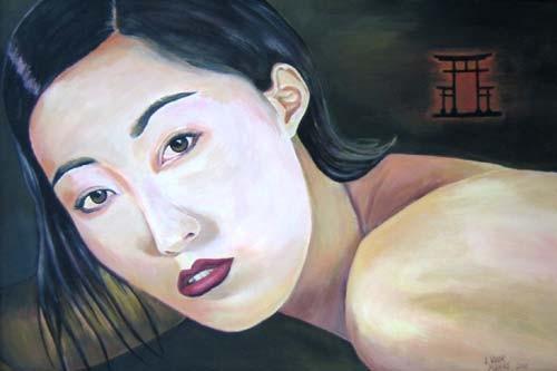 "Porträt - ""Japanerin"" 40x60cm Acryl auf Maltuch"