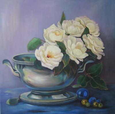Gelbe Rosen in Silberschale 60x60cm Öl auf Maltuch