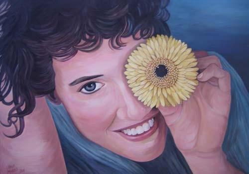 """Flora"" - Frauenporträt 70x100cm Acryl auf Maltuch"