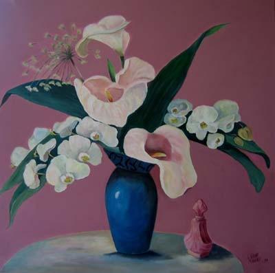 Bouquet mit Callas und Orchideen 70x70cm Acryl auf Maltuch