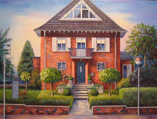 Villa am Burgwall 70x90cm Acryl auf Maltuch