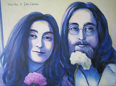 Yoko Ono und John Lennon 40x60cm Acryl auf Maltuch