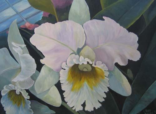 Orchidee im Treibhaus 60x80cm Acryl auf Maltuch
