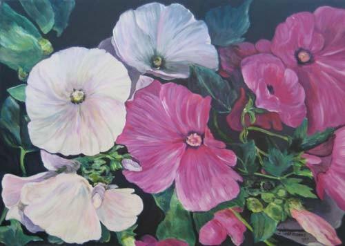 Malvenblüten 50x70cm Acryl auf Maltuch