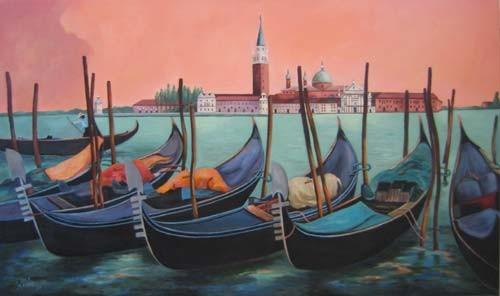 """Venedig, Blick auf """"San Giorgio"""" 50x100cm Acryl auf Maltuch"""