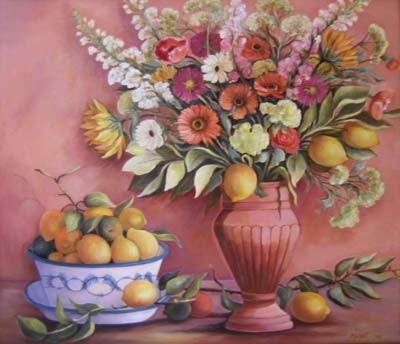 Blumenstillleben m. Zitronen 60x70cm Öl auf Maltuch