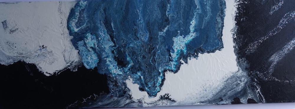 40 x 120 cm - Acryl, Silikonöl, Wasser, Fließmedium