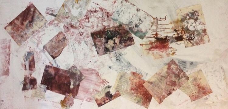 70 x 140 x 4 cm - Buchseiten, Tinte, Wandfarbe