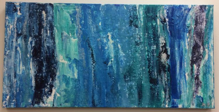 50 x 100 cm  - Acryl, Silikonöl, Wasser, Fließmedium