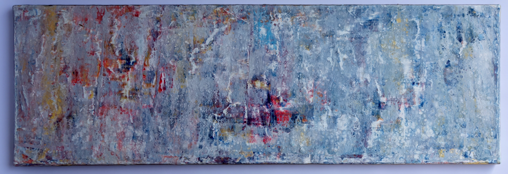 30 x 90 cm -  Acryl, Silikonöl, Wasser, Fließmedium, Strukturmaterialien