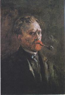 6-1-Van Gogh Autoportrait avec pipe, 1886,