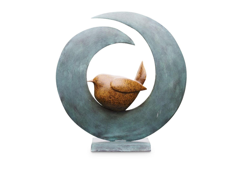 Bronzefigur VOGEL IN SICHELMOND, 51 cm