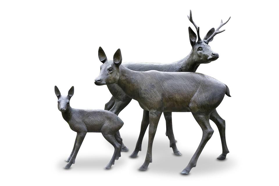 Bronzefigurenset REHFAMILIE, drei Bronzetiere