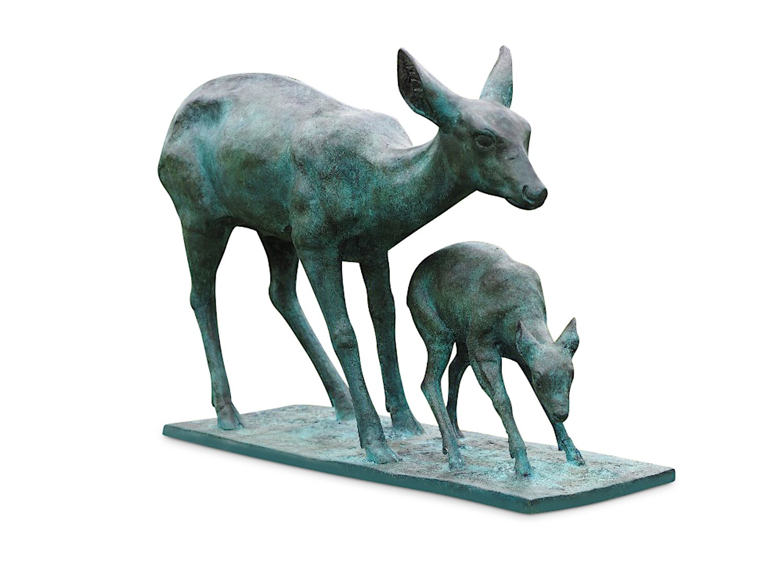 Bronzefigur REHMUTTER MIT REHKITZ, 115 cm