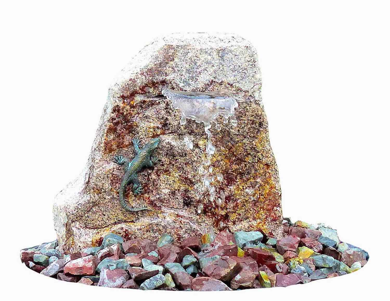 Wasserwelt EIDECHSE, Brunnenkomplettset aus Bronze und Stein