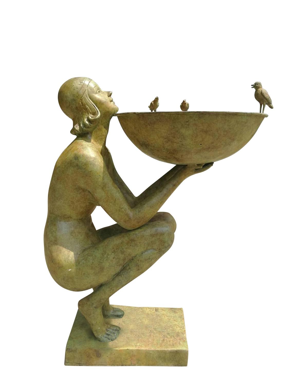 Bronzebrunnen ALESSIA, grün-gelb patiniert