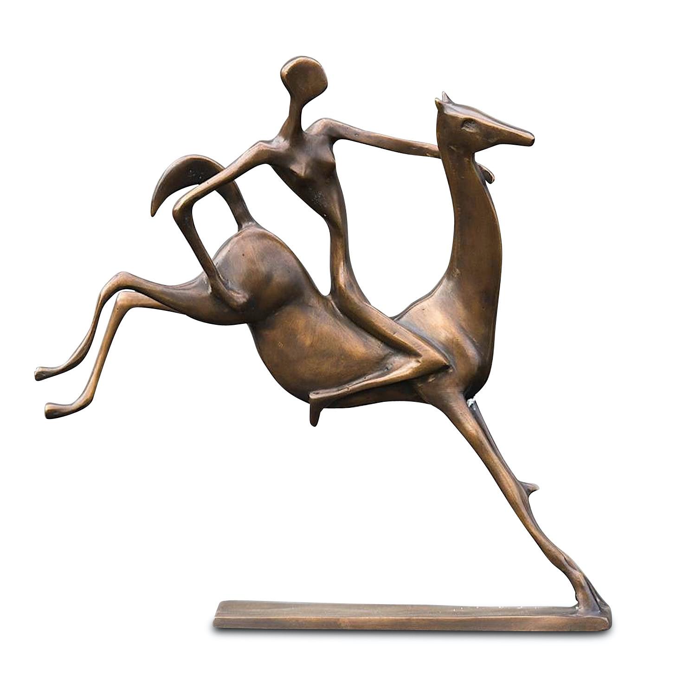 Bronzefigur FRAU AUF PFERD, 44 cm