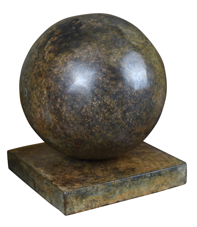 Bronzeobjekt KUGEL, ø 20 cm, braun patiniert