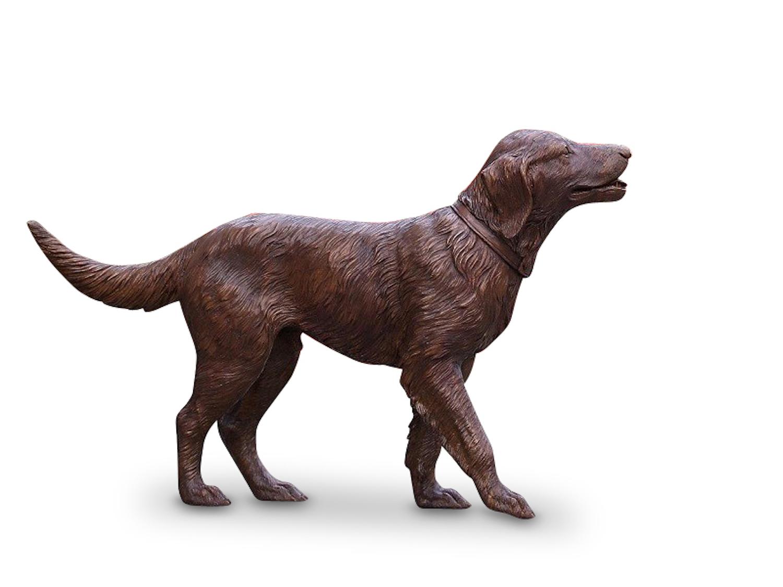 Bronzefigur Hund, GOLDEN RETRIEVER, 115 cm