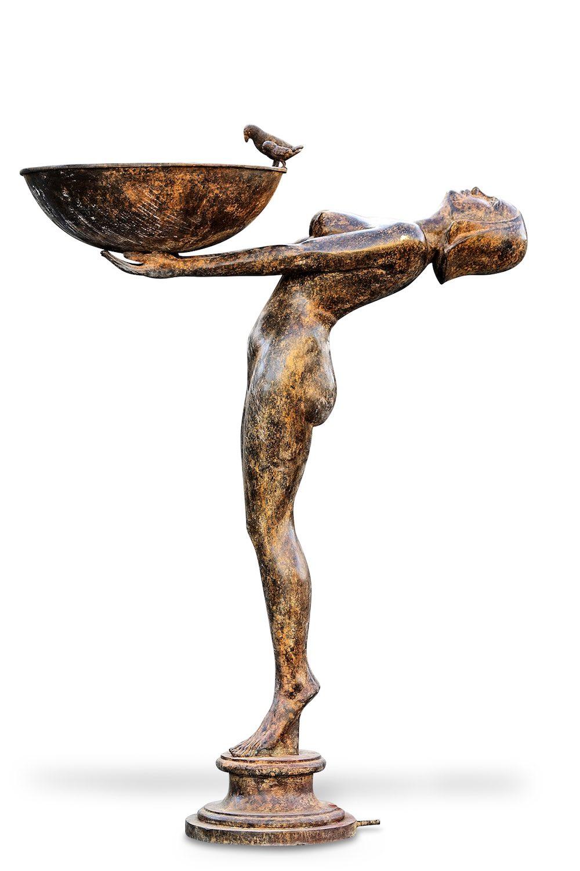 Bronzebrunnen SERENE, sandfarben patiniert