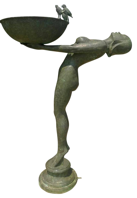 Bronzebrunnen SERENE, dunkelgrün patiniert