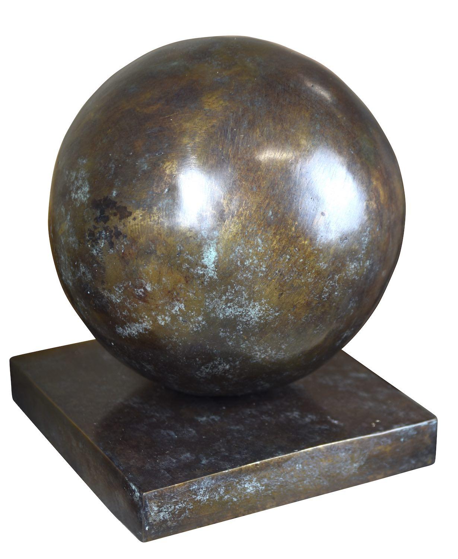 Bronzeobjekt KUGEL, ø 20 cm, grün-bronze patiniert