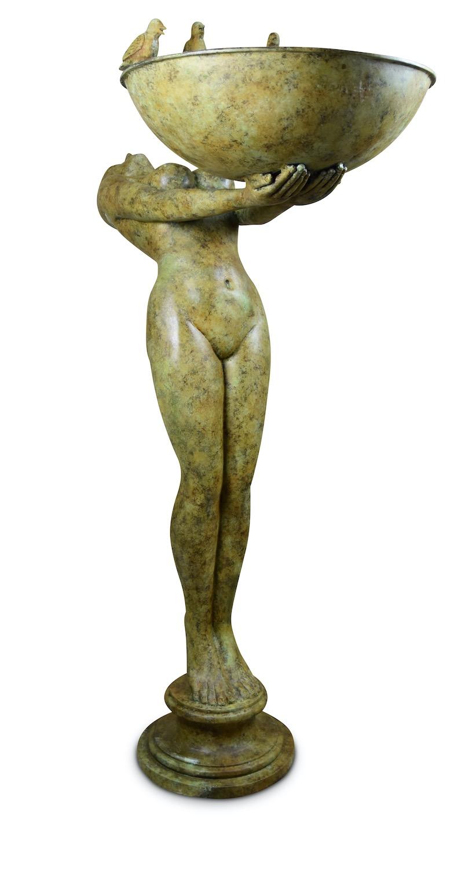 Bronzebrunnen SERENE, grün-gelb patiniert