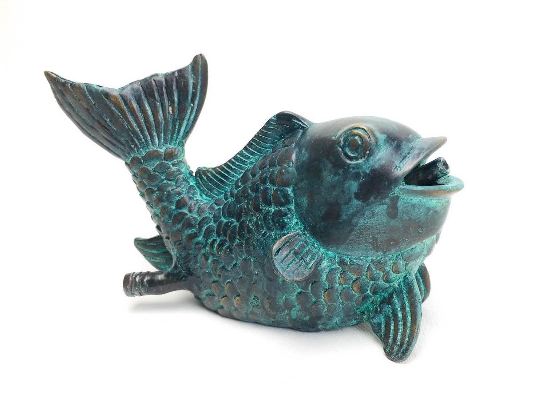 Bronzewasserspeier Fisch GUILLAUME, 18 cm