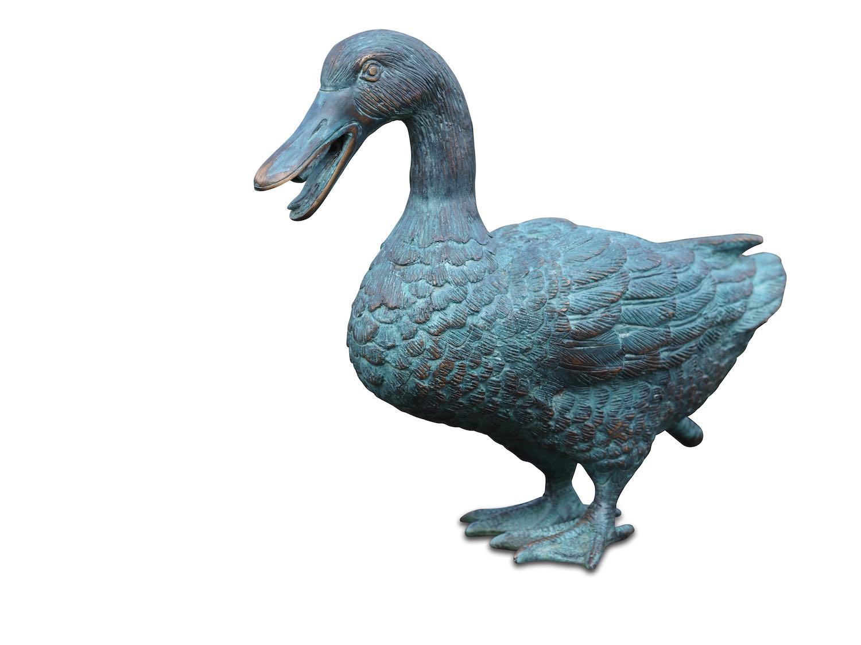 Bronzewasserspeier Vogel Ente KLARA, 25 cm hoch