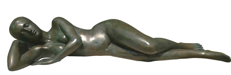 Bronzefigur EVE liegender Akt