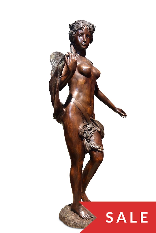 Bronzefigur MARIAM, patinierte Bronze, 112 cm, Basis ø 24 cm