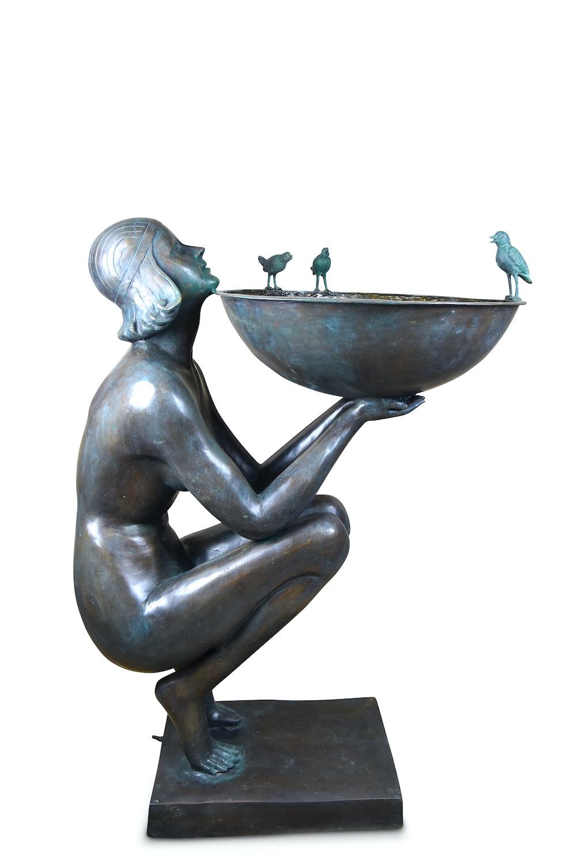 Bronzebrunnen ALESSIA, dunkelgrün patiniert