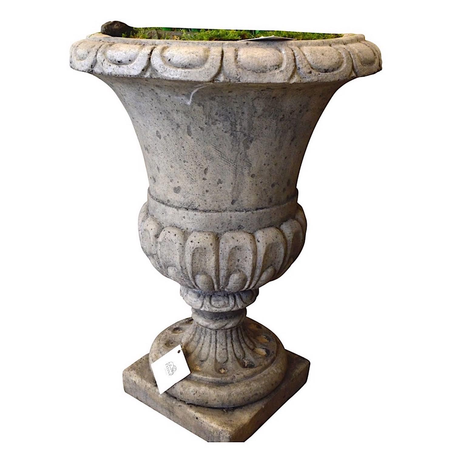 Pflanzgefäß TOSCA;, große Steinvase aus patiniertem Quarzsteinguss
