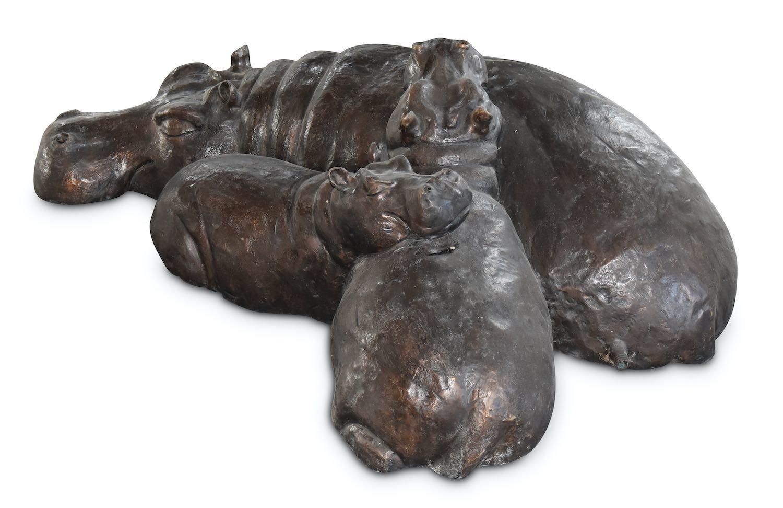 Bronzewasserspeier FLUSSPFERD-FAMILIE, 130 cm