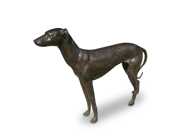 Bronzefigur Hund GREYHOUND EOS, 93 cm hoch