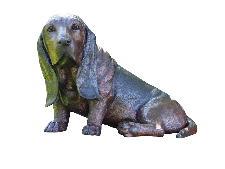 Bronzefigur Hund BASSET, 52 cm
