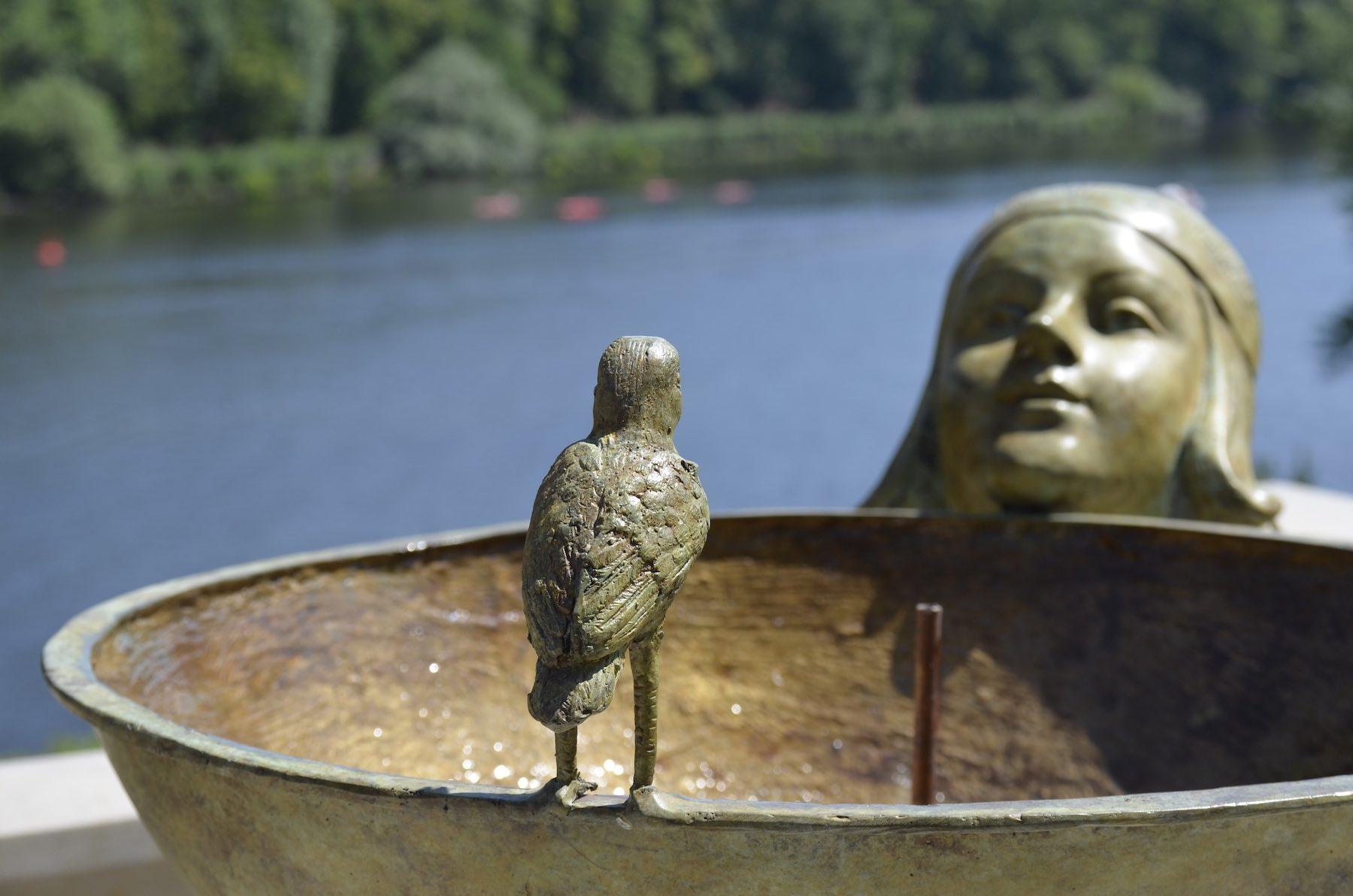 Bronzebrunnen ALESSIA , Patina: Antik-Grün-Gelb, Kundenfoto