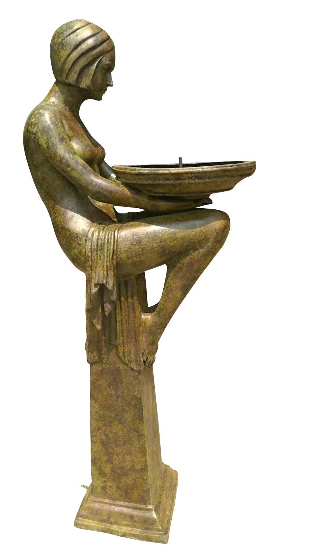 Bronzebrunnen CRYSTAL, Bronzefigur, Vogeltränke