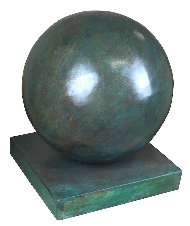 Bronzeobjekt KUGEL, ø 20 cm, grün patiniert