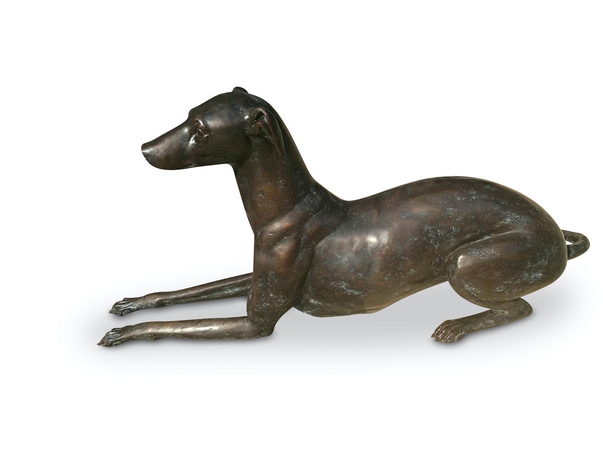 Bronzefigur Hund GREYHOUND NOTOS, 128 cm lang