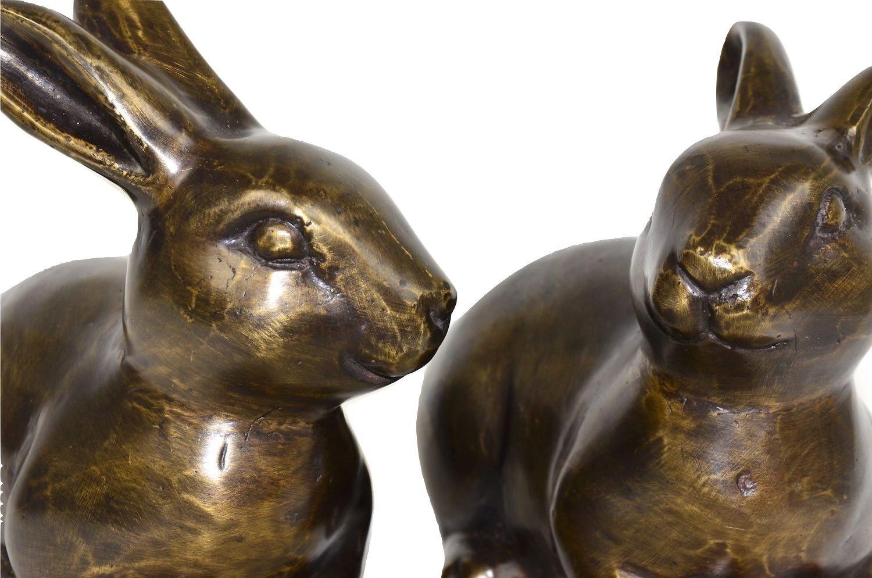 Bronzefigur Hase HASENPAAR liegend