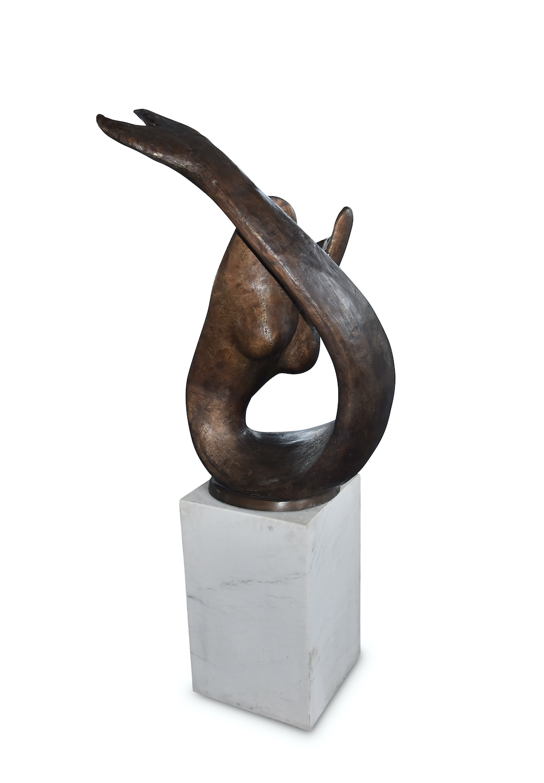 Bronzefigur ABSTRAKTE MEERJUNGFRAU, 102 cm