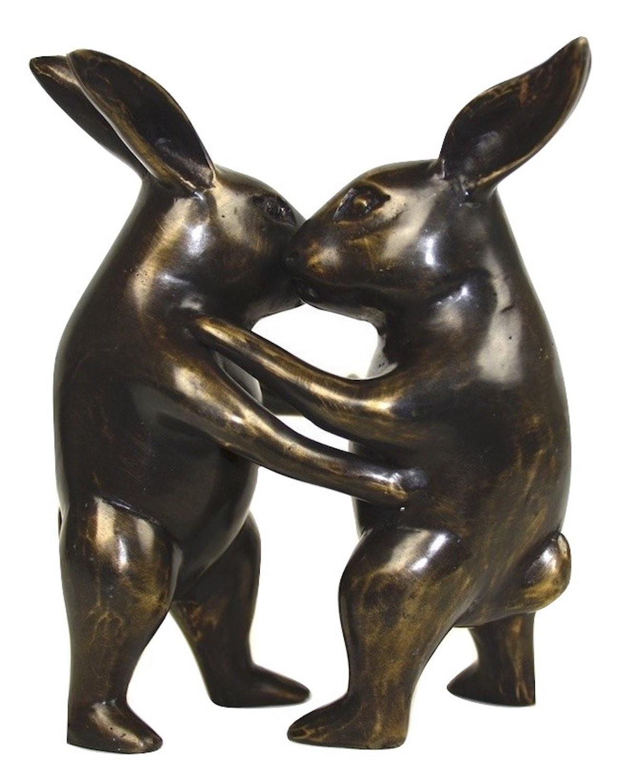 Bronzefigur Hase HASENPAAR tanzend