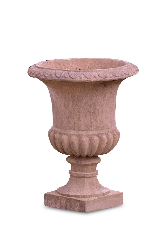 Steinvase ROMAN, 73 cm, terracotta patinierter Quarzsteinguss