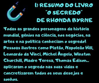 "Resumo livro autoajuda- ""O segredo""-  Rhonda Byrne-"