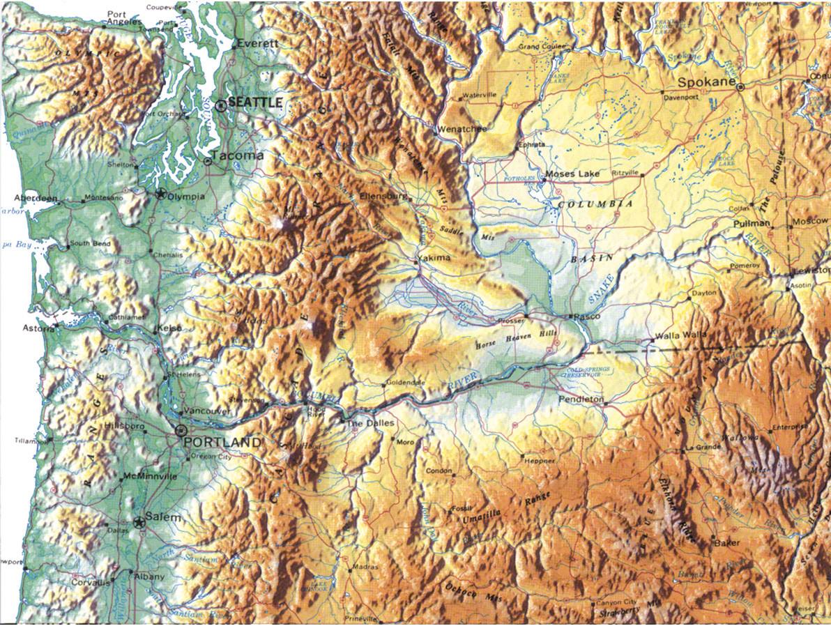 Ausschnitt der USA-Wandkarte
